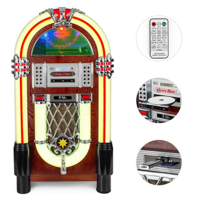 Graceland TT, jukebox, bluetooth, phono, CD, USB, SD, MP3, AUX, FM