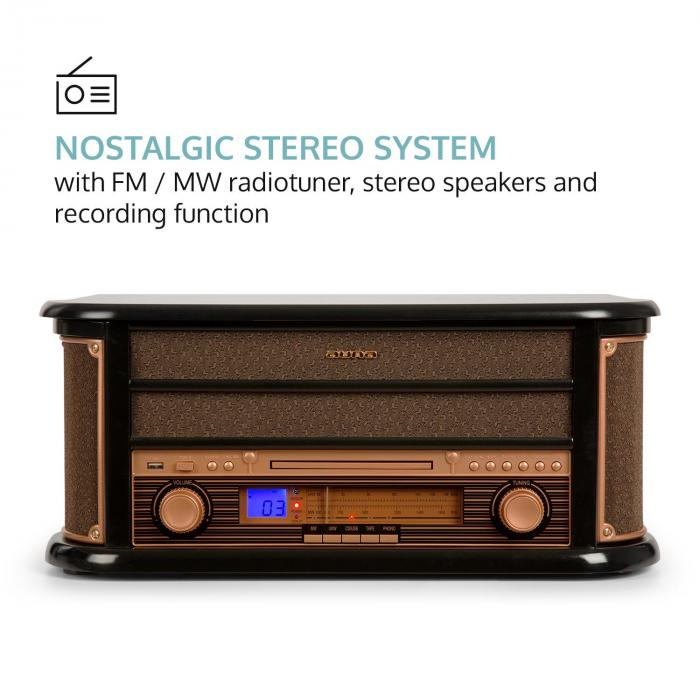 BELLE EPOQUE 1908, sistem stereo retro, gramofon, radio, usb, cd, mp3, microsistem