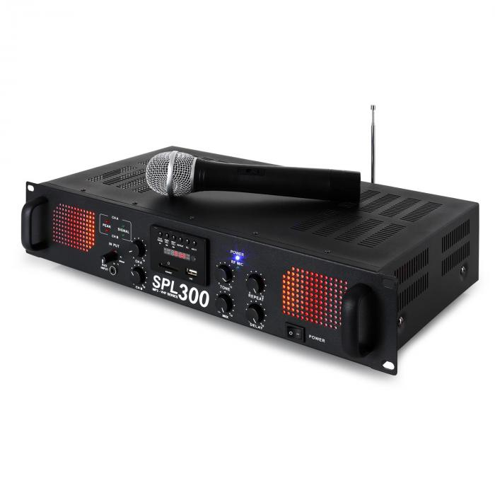 SPL 300VHF, 300 W, zosilňovač, USB, SD, MP3