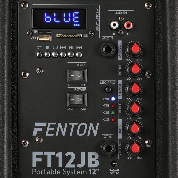 "FT12JB, aktivni zvočnik, 12"", 700 W, BT/USB/SD/MP3/AUX-In, LED, Jellyball, baterila"