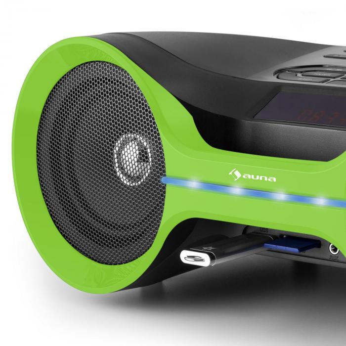 Boombastic, bluetooth boombox, USB, SD, MP3, AUX, FM, LED
