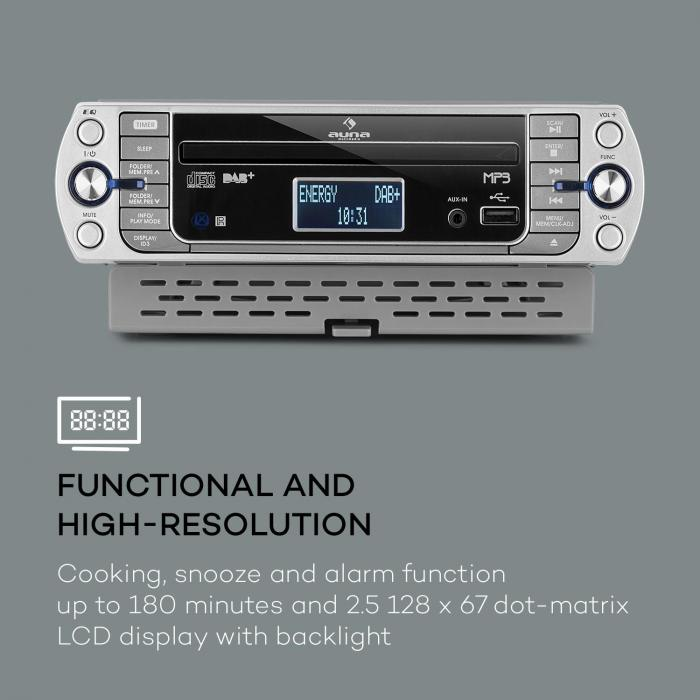 KR-400 CD, kuhinjski radio, DAB+/PLL FM radio, CD/MP3 player, srebrna boja