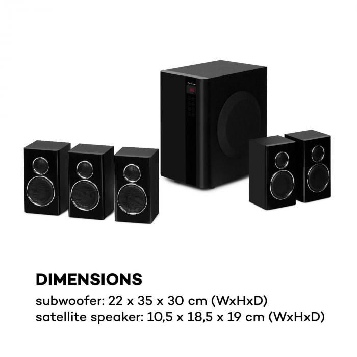 Areal Touch, 5.1 hangfal rendszer, max. 200 W, OneSide subwoofer, BT, USB, SD